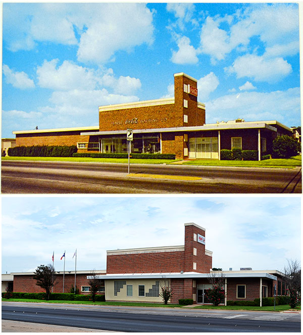 Postcard image from the 70s and the building today.