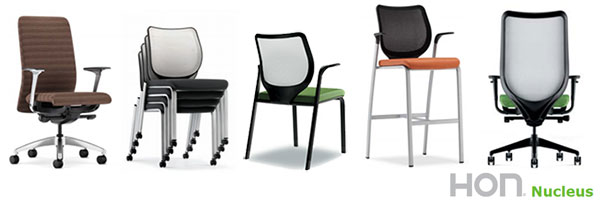 Nucleus is a line of seating from HON that is available as an ergonomic work chair, multi-purpose stacking chair, and elegant café-height chairs. As you can see, a variety of options are possible. Learn more about HON Nucleus >