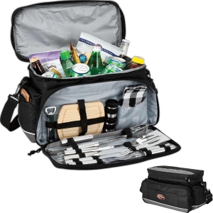 15-can cooler bag with picnic / BBQ set