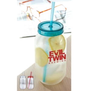 Item MJ25 | 25 oz. Old School Mason Jar with Lid & Straw by Magnet Group